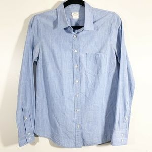 J Crew Blue Chambray Cotton Button Front Shirt 4